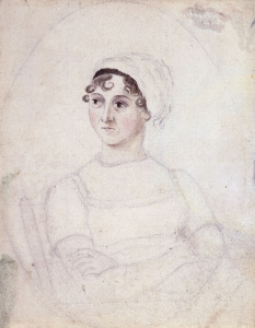 Portrait of Jane Austen, drawn by her sister Cassandra (c. 1810). Source: Wikipedia (CC BY-SA 3.0). Click to enlarge.