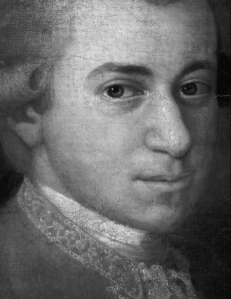 Mozart c. 1780, detail from portrait by Johann Nepomuk della Croce. Source: Wikipedia. Click to enlarge.