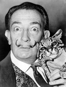 Dalí in the 1960s sporting his characteristic flamboyant moustache. Photographed holding his pet ocelot. Source: Wikipedia. Click to enlarge.