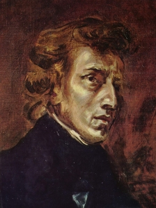 Chopin at 28, from Delacroix's joint portrait of Chopin and Sand. Source: Wikipedia. Click to enlarge.