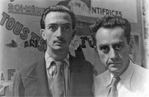 """Salvador Dalí and Man Ray in Paris, on June 16, 1934 making """"wild eyes"""" for photographer Carl Van Vechten. Source: Wikipedia. Click to enlarge."""