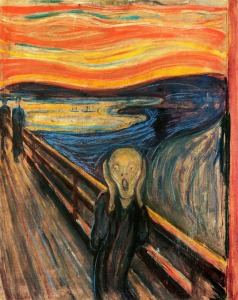 "One of several versions of the painting ""The Scream"". The National Gallery, Oslo, Norway. Source: Wikipedia. Click to enlarge."