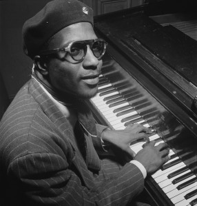Thelonious Monk, Minton's Playhouse, New York, ca. September 1947. Photograph by William P. Gottlieb. Source: Wikipedia. Click to enlarge.