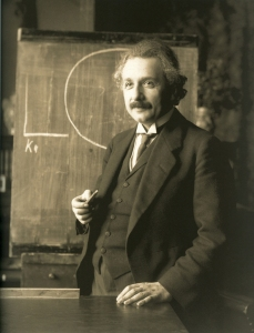 Albert Einstein during a lecture in Vienna in 1921. Source: Wikipedia. Click to enlarge.