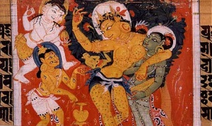Queen Māyā miraculously giving birth to Siddhārtha. Sanskrit palm leaf manuscript. Nālandā, Bihar, India. Pāla period. Source: Wikipedia.
